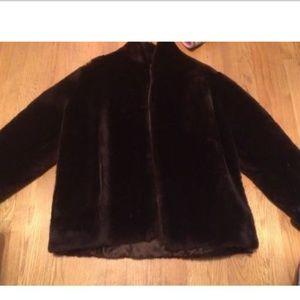 Fur Label Authority Coat Dark Brownish-Red M/L